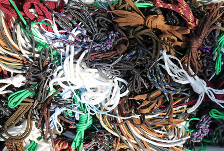 background of many shoelaces tied together