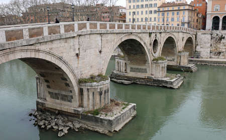 Ancient Bridge called Ponte Sisto in Rome Italy and the Tiber River