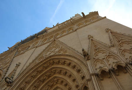 Facade of Gothic Cathedral dedicated to saint john the baptist of Lyon in France