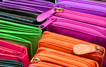 wallets of leather for sale in the store in Florence Italy Stockfoto