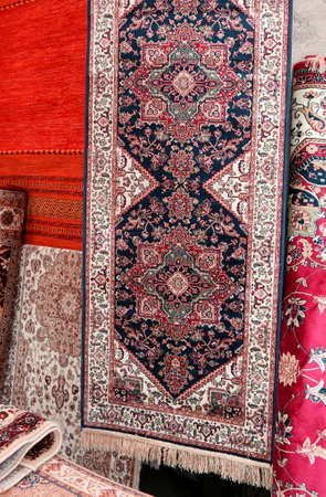 carpets for sale in the market stall