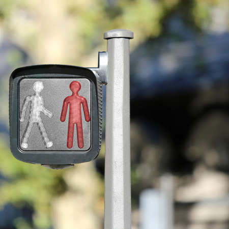 pedestrian signal light with of a small red man who don't walks in the city Archivio Fotografico - 120354566