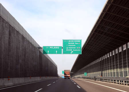 big road signal in the italian motorway to go to Milan or in other place in Italy