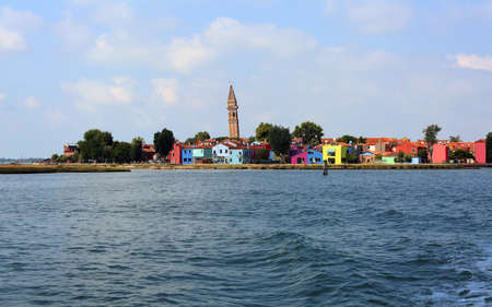 View of painted houses of Burano Island in the Venetian Lagoon near Venice and the Adriatic Sea in Italy