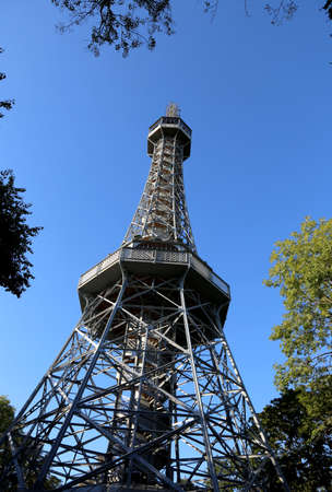 The Petrin tower built in Prague in the Czech Republic on top of a hill is a small-scale copy of the Eiffel Tower in Paris Redakční