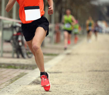 one single runner during a crosscountry footrace