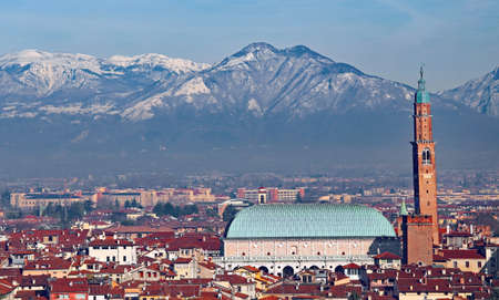 panorama of Vicenza in Italy with the historic monument called BASILICA PALLADIANA
