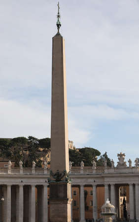 very high ancient eyptian obelisk in Saint Peter Square in Vatican City