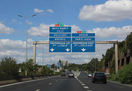 French Highway to Paris in France and more place in the traffic sign