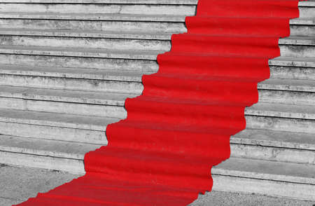 red carpet for the catwalk of celebrities along the staircase
