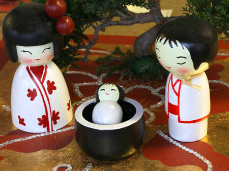 Representation in the Japanese style of Nativity Scene with statuettes of Holy family with child Stock Photo