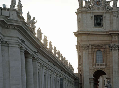 Deatil of Basilica of Saint Peter in Vatican City and many statues