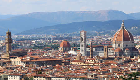 FLORENCE panoramic view with dome bell tower and Palazzo della Signoria