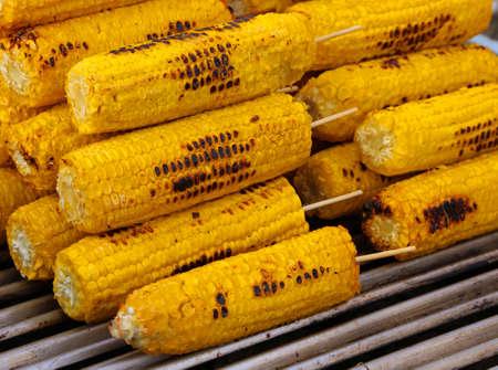 roasted yellow ripe corn in street food stall