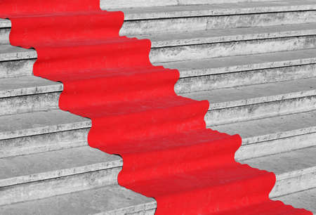 red carpet on the stairs symbol of success