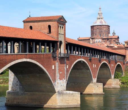wooden old bridge over the TICINO River in Pavia in Italy Archivio Fotografico