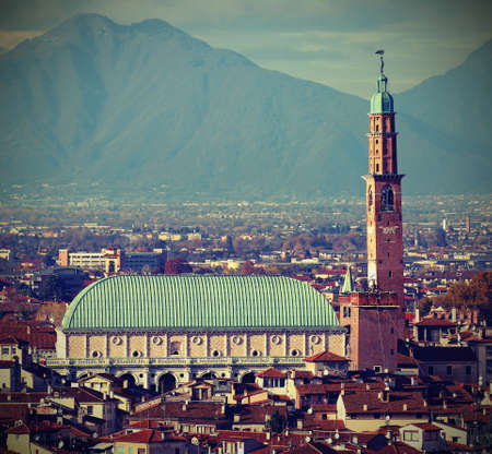 VICENZA in Italy and the famous monument called BASILICA PALLADIANA with old toned effect Banco de Imagens