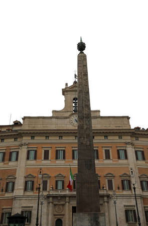 big obelisk in Rome and the Montecitorio Palace and white sky