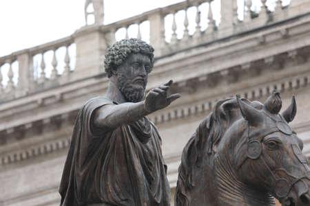 Equestrian ancient Statue of Marcus Aurelius  in the Capitoline Hill Rome Italy
