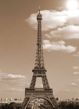 Eiffel Tower in Paris France with old toned sepia effect seen from Trocadero hill 写真素材