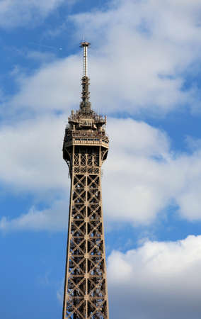 Summit of Eiffel Tower in Paris France Stock Photo
