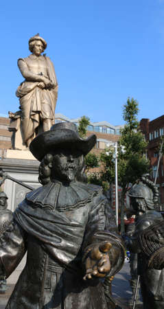 Amsterdam, Netherlands - August 22, 2017: The sculptures of The Night Watchin painting by Rembrandt in 3D format at the Rembrandtplein Editorial