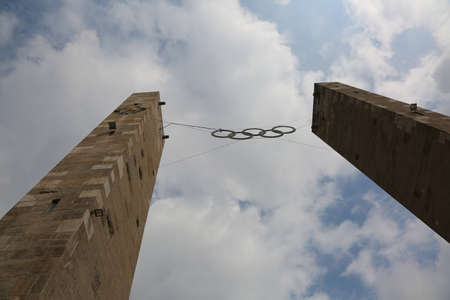 Berlin, Germany - August 16, 2017: Five big Olympic Circles at the entrance to the Berlin Olympic Stadium called Olympiastadion  in German Language