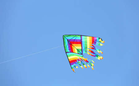 colourful kite on the sky. This is the symbol of freedom and happy infancy