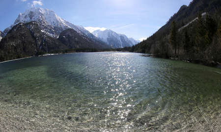 lake of Predil in Northen Italy by fisheye lens near Tarvisio town 版權商用圖片