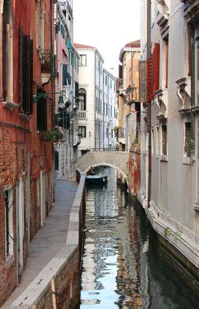 Many houses near the narrow water way in Venice Italy and the small street called FONDAMENTA