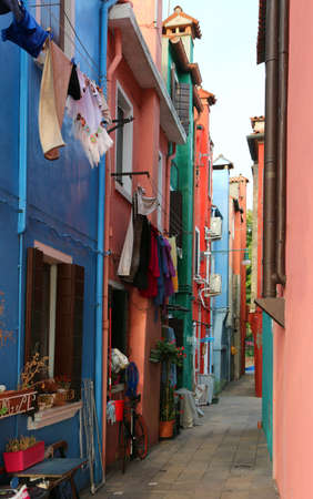 very narrow street called CALLE in Italian Language in the island of Adriatic Sea in Italy