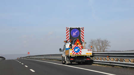 truck and road works on the motorway without worker