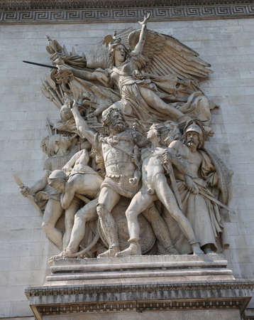 Detail of Statues of  Triumphal Arch on champs elysees called La Marseillaise in french language in Paris in France Reklamní fotografie