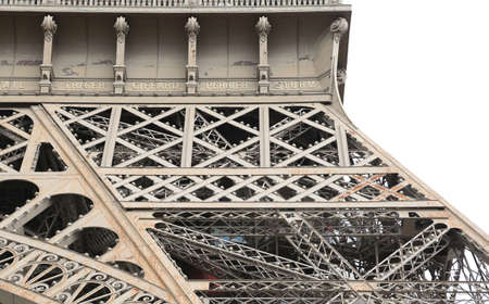 Paris, France - August 21, 2018: Detail of Structure of the Eiffel Tower called Tour Eiffel in French Language