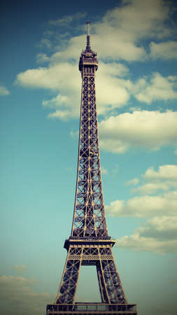 Eiffel Tower called Tour Eiffel in Paris France and the blue sky with old toned effect Banco de Imagens