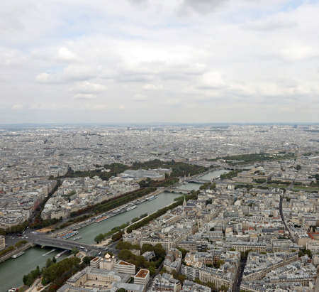 Panoramic view of french capital  with palace called Grand Palais and Seine River