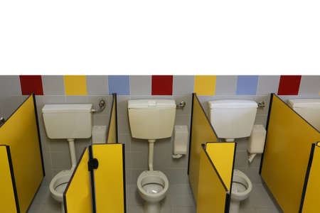 White wall on the bathroom with small wc in the school. Write your Text in the white space