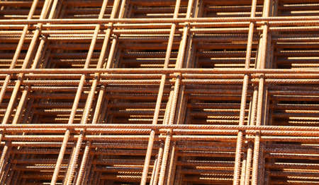 detail of heap of arusty welded net at the construction site