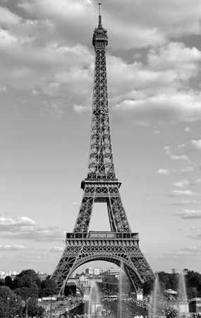 Eiffel Tower and fountains of Trocadero Quartier in Paris with black and white effect