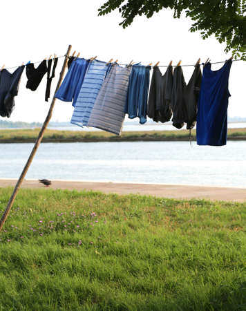 clothes hanging on the island near Venice in Italy 版權商用圖片
