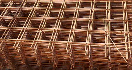 heap of arusty welded net at the construction site