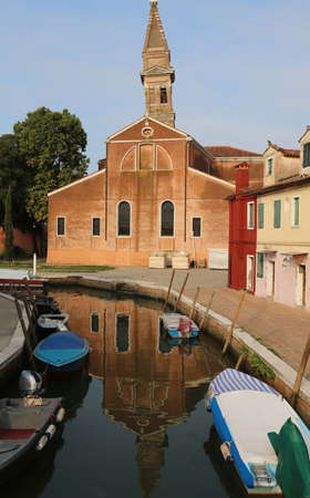 Bell Tower of Burano Island near Venice in Italy Banco de Imagens - 124666232