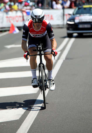 Verona, VR, Italy - June 2, 2019:  Cyclist of Trek Segafredo team at Last stage Tour of Italy also called Giro dItalia is a famous cycling race with many professional cyclists