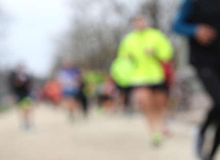 foot race with unrecognizable runners and INTENTIONALLY BLURRED to use as a background Stok Fotoğraf