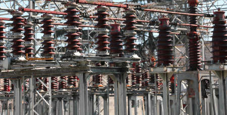 big industrial breakers of a power plant with high voltage power lines Stok Fotoğraf