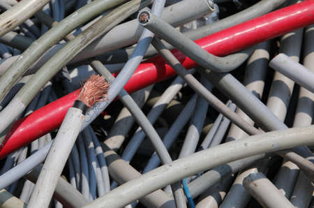 used electrical wires at recycling center