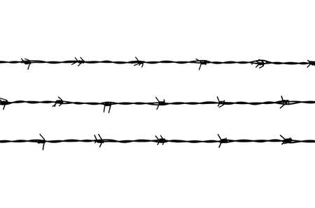 black lines of barbed wire on white background Stockfoto