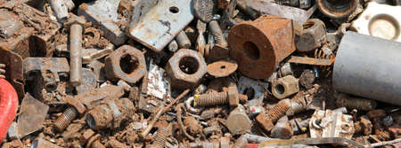 bolts and other rusted object in the junkyard