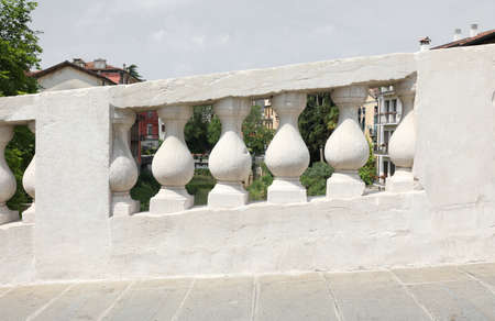 white balustrade of an ancient bridge called Ponte San Michele in Vicenza Town in Italy Stock fotó