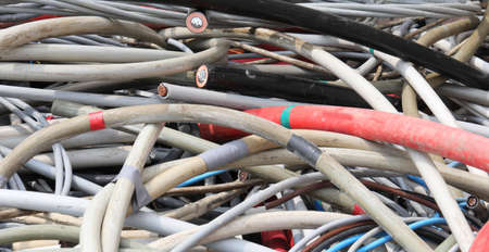 background of insulated cables or wires in the recycling center